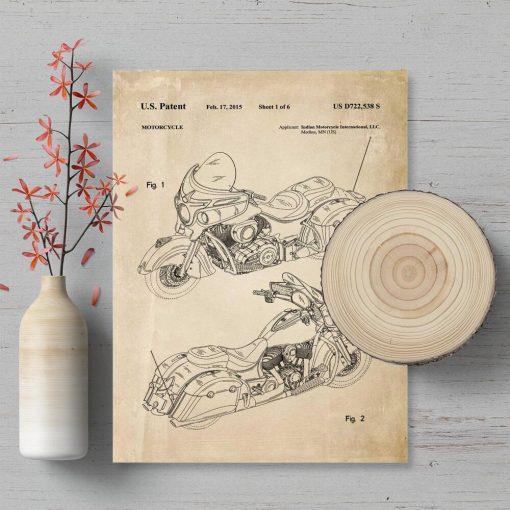 Plakat retro z patentem na produkcję motocykla