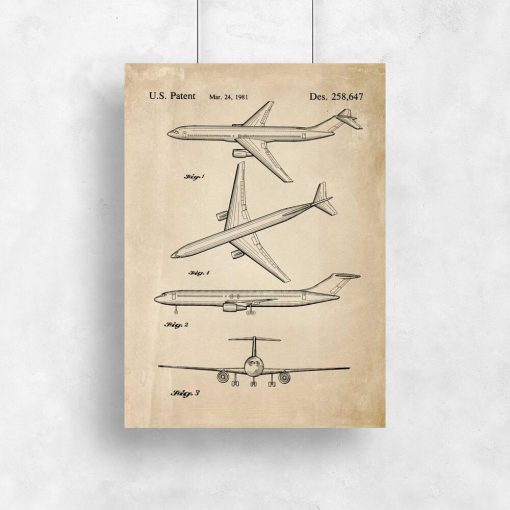 Plakat retro z patentem na samolot dla chłopca