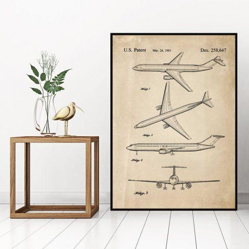 Plakat retro z patentem na samolot do gabinetu