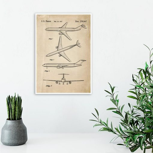 Plakat retro z patentem na samolot do sypialni