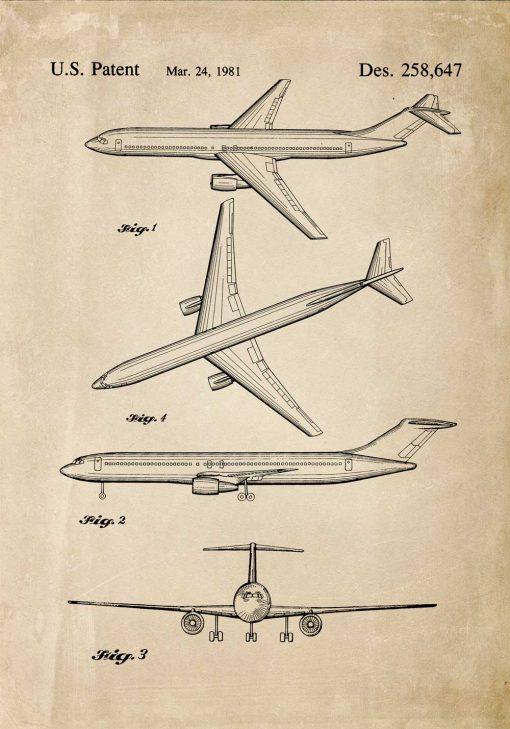 Plakat retro z patentem na samolot do szkoły