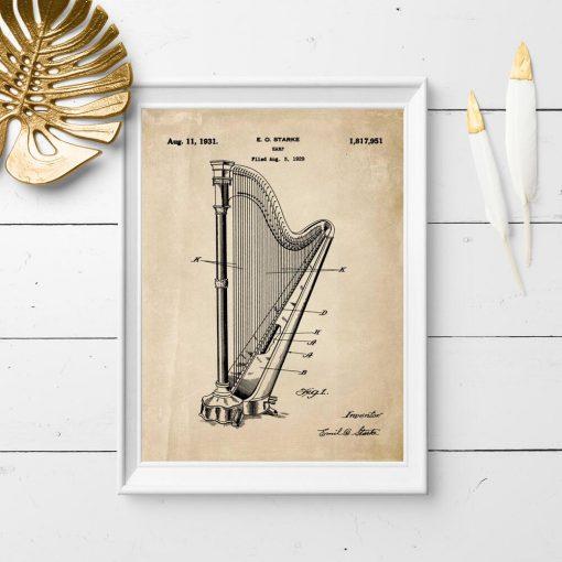 Plakat retro z patentem na wynalazek muzyczny