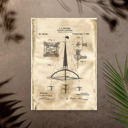Plakat retro z prototypem bojki morskiej