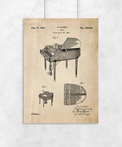 Plakat retro z rysunkiem opisowym fortepianu dla muzyka