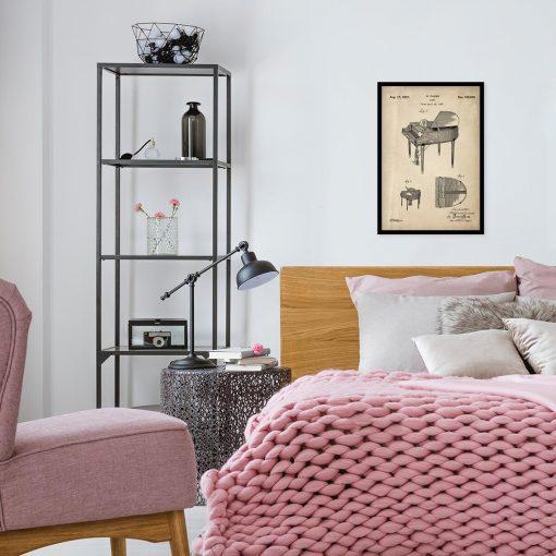 Plakat retro z rysunkiem opisowym fortepianu do sypialni