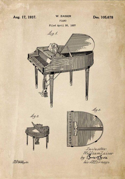 Plakat retro z rysunkiem opisowym fortepianu