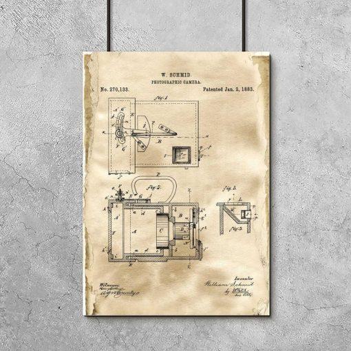Plakat retro z rysunkiem patentowym aparatu fotograficznego do gabinetu