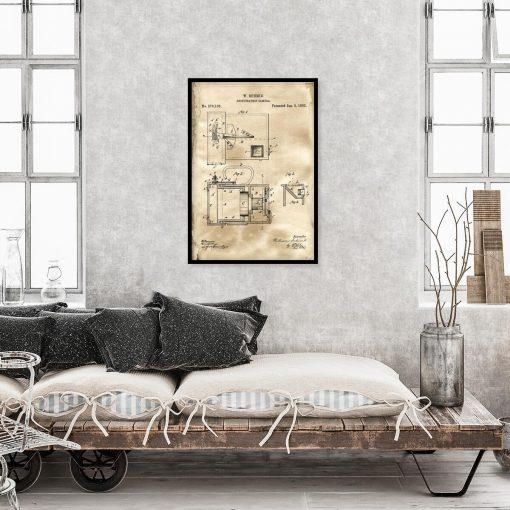 Plakat retro z rysunkiem patentowym aparatu fotograficznego do sypialni
