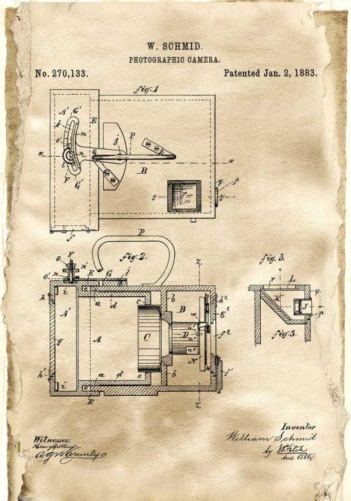 Plakat retro z rysunkiem patentowym aparatu fotograficznego