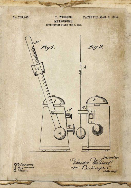Plakat retro z rysunkiem patentowym taktomierza
