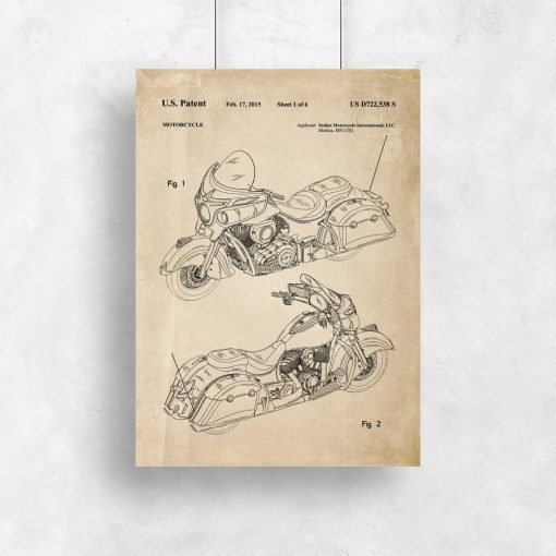 Plakat retro ze schematem budowy motocykla