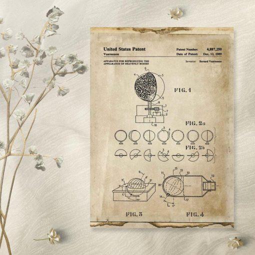 Plakat - ruch ciał niebieskich - patent z 1989r.
