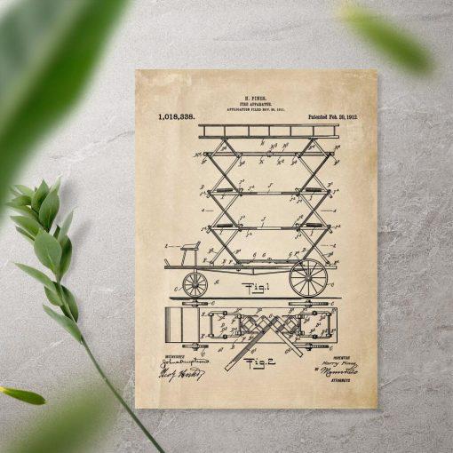 Plakat vintage - patent na urządzenie do gaszenia pożaru
