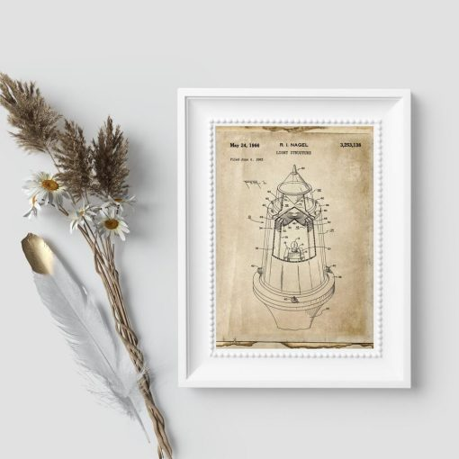 Plakat vintage patent z 1963r. na źródło światła
