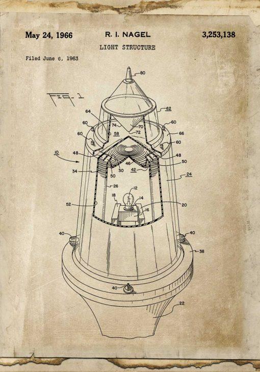 Plakat vintage rysunkiem patentowym na nowoczesne źródło światła z 1963r.