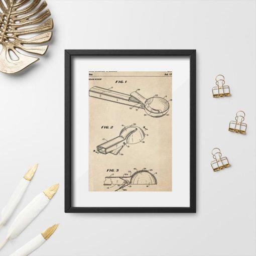 Plakat vintage w sepii z rysunkiem patentowym na łyżkę do lodów