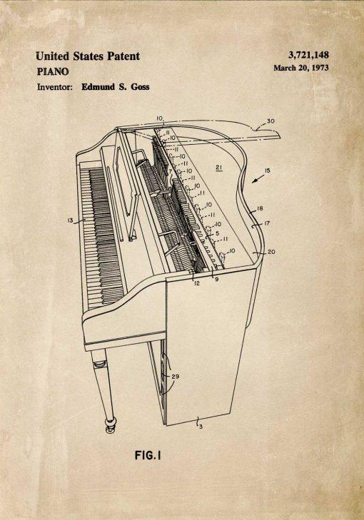 Plakat vintage z fortepianem do dekoracji szkoły muzycznej