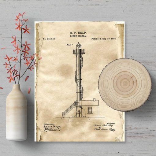 Plakat vintage z koncepcją budowy latarni morskiej