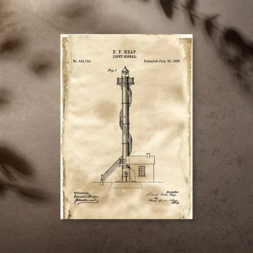 Plakat vintage z licencją na budowę latarni morskiej