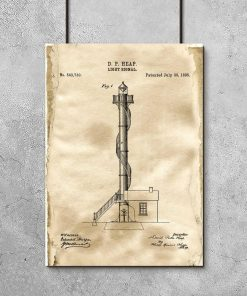 Plakat vintage z motywem latarni morskiej - patent na budowę