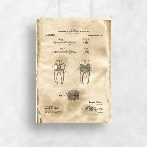Plakat vintage z patentem dentystycznym