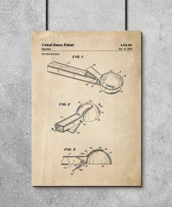 Plakat vintage z patentem do łyżkę do lodów z 1979r.