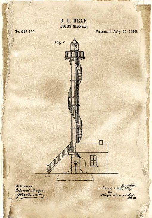 Plakat vintage z patentem na latarnię morską - rok 1895
