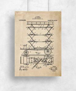 Plakat vintage z patentem na pierwszy wóz strażacki