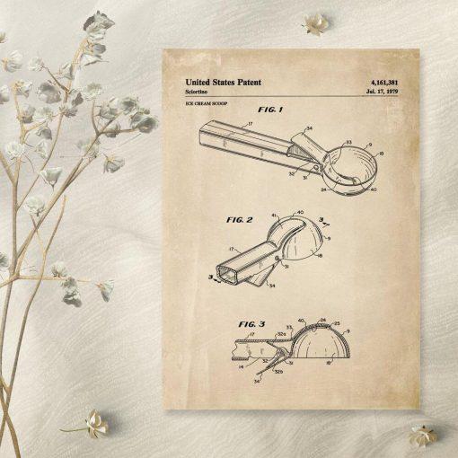 Plakat vintage z projektem gałkownicy do lodów