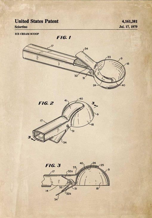 Plakat vintage z rysunkiem patentowym na gałkownicę