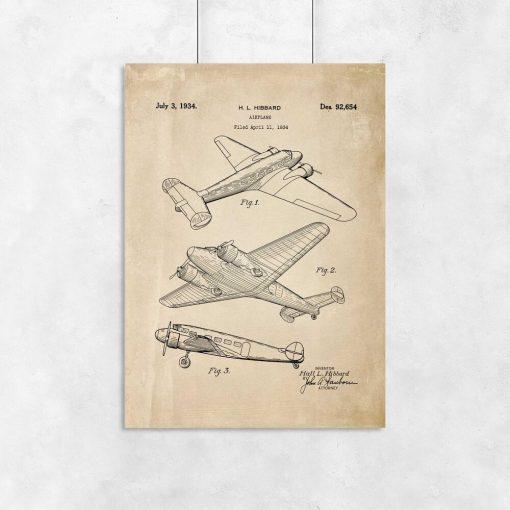 Plakat vintage z samolotem - patent 1934r.