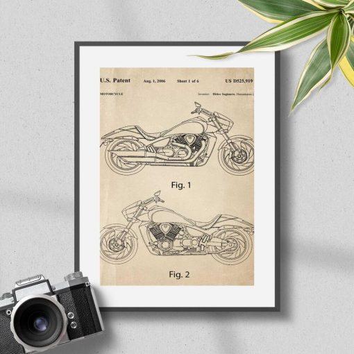 Plakat vintage z zezwoleniem na budowe motocykla
