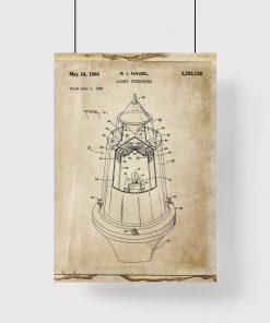 Plakat vintage ze schematem budowy lampy