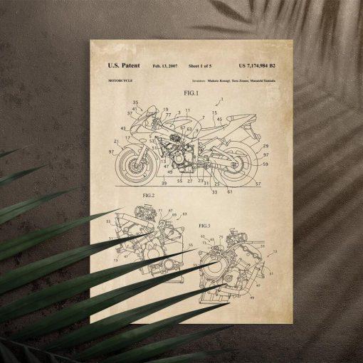 Plakat w sepii świadectwo produkcji motocykla do powieszenia w garażu