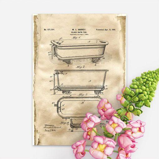 Plakat w sepii z koncepcją budowy wanny szklanej