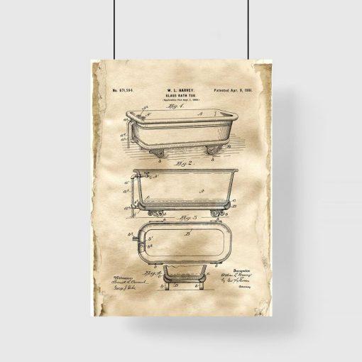 Plakat w sepii z motywem wanny szklanej