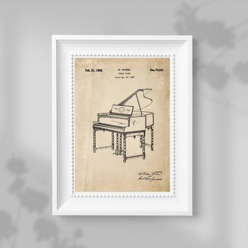 Plakat w sepii z patentem na pianino