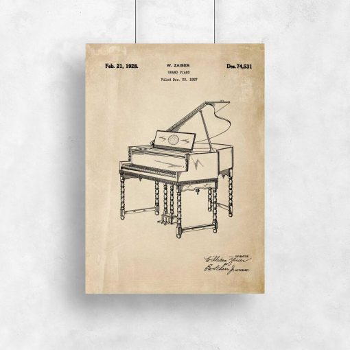 Plakat w sepii z pianinem - patent
