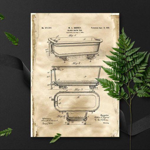 Plakat w sepii z projektem na budowę wanny