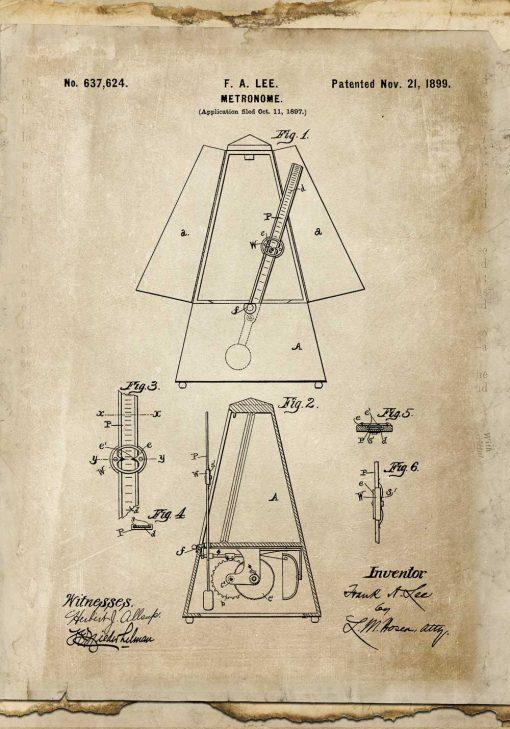 Plakat w stylu retro z taktomierzem - patent z 1899r.