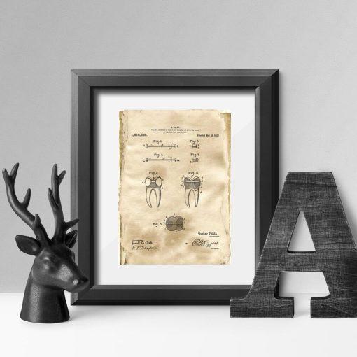 Plakat z koncepcją na kotwę stomatologiczną - retro