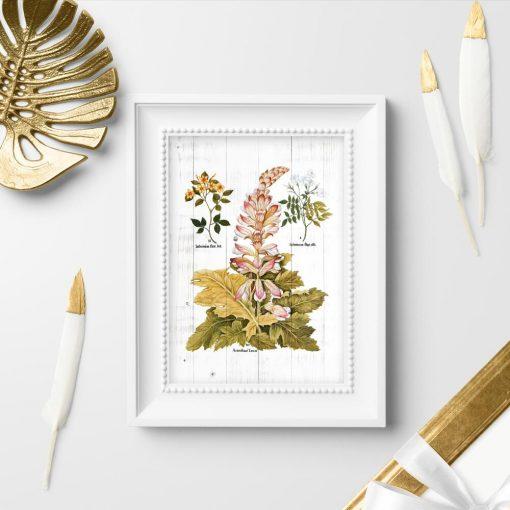 Plakat z motywem rustykalnym w postaci roślin