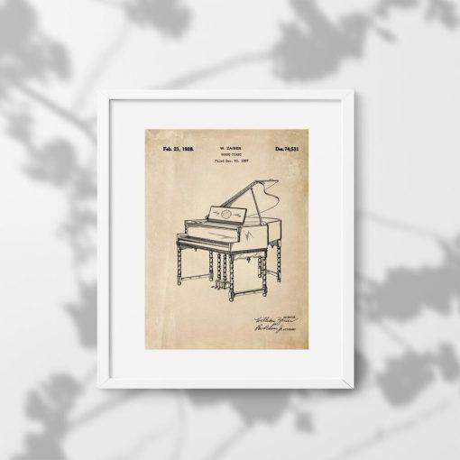 Plakat z patentem 1928r. - pianino w kolorze sepii