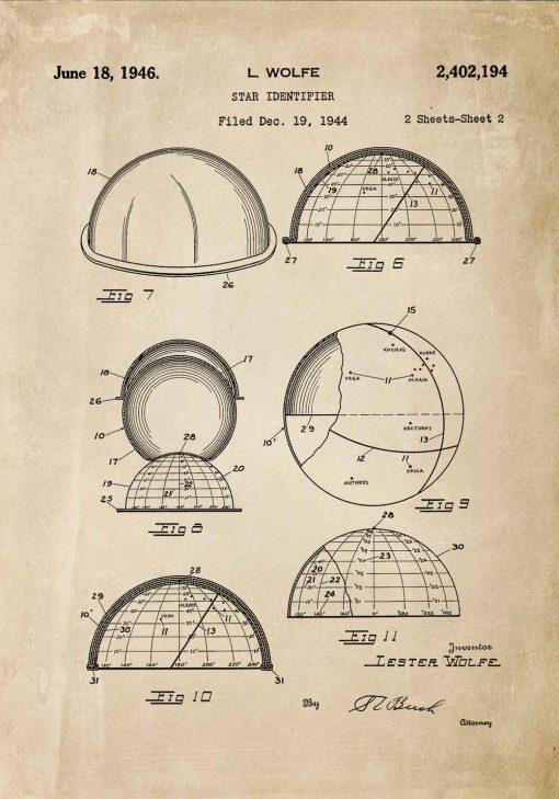Plakat z patentem do rozpoznawania konstelacji