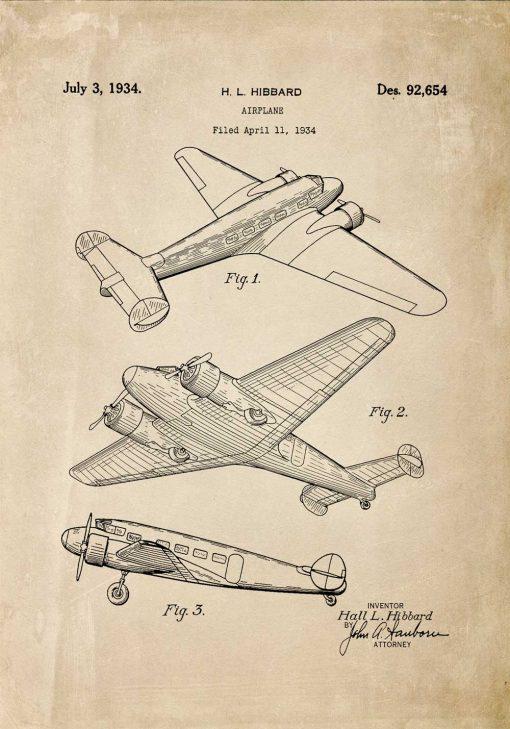 Plakat z patentem na aeroplan z 1934r.