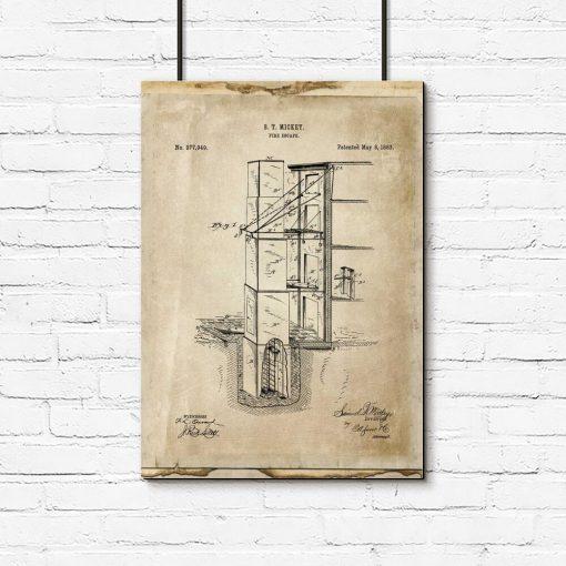 Plakat z patentem na budowę wyjścia pożarowego