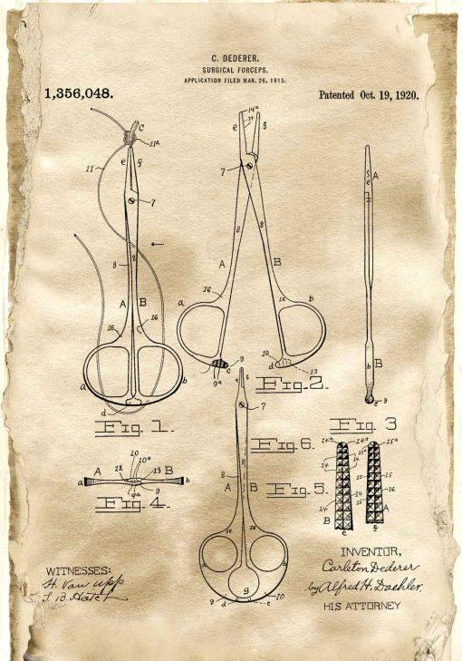 Plakat z patentem na hemostat dla studenta