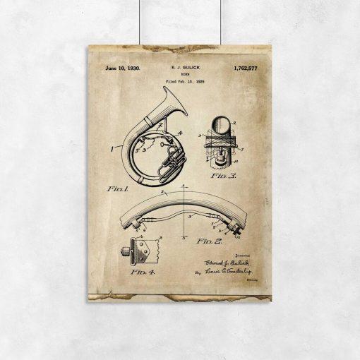 Plakat z patentem na instrument muzyczny do dekoracji biura