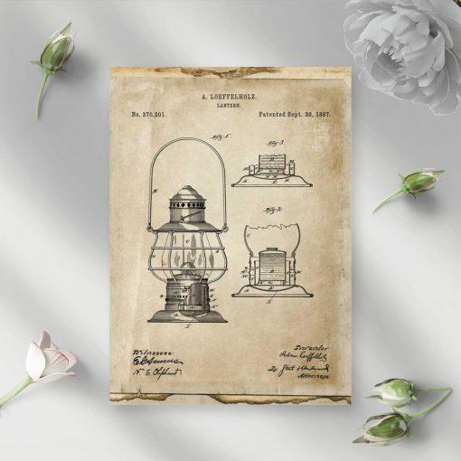 Plakat z patentem na latarnie do pokoju