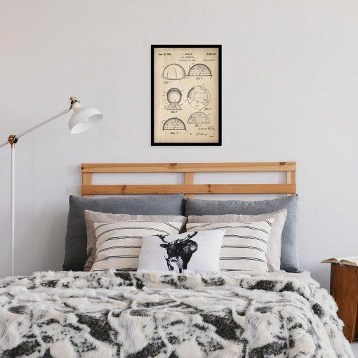 Plakat z patentem na machinę do rozpoznawania konstelacji do sypialni